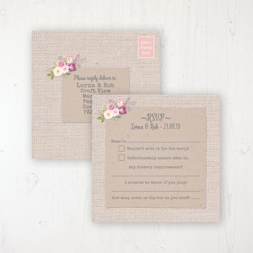 Floral Blooms Wedding RSVP Postcard Personalised Front & Back