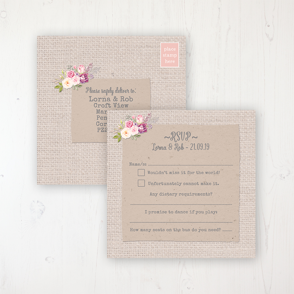 Floral Blooms Wedding RSVP Postcard Personalised Front & Back