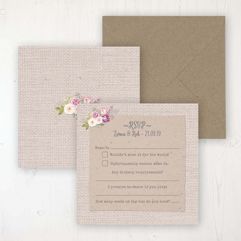 Floral Blooms Wedding RSVP Personalised Front & Back with Rustic Envelope