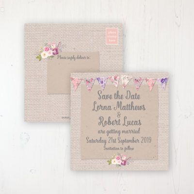 Floral Blooms Wedding Save the Date Postcard Personalised Front & Back