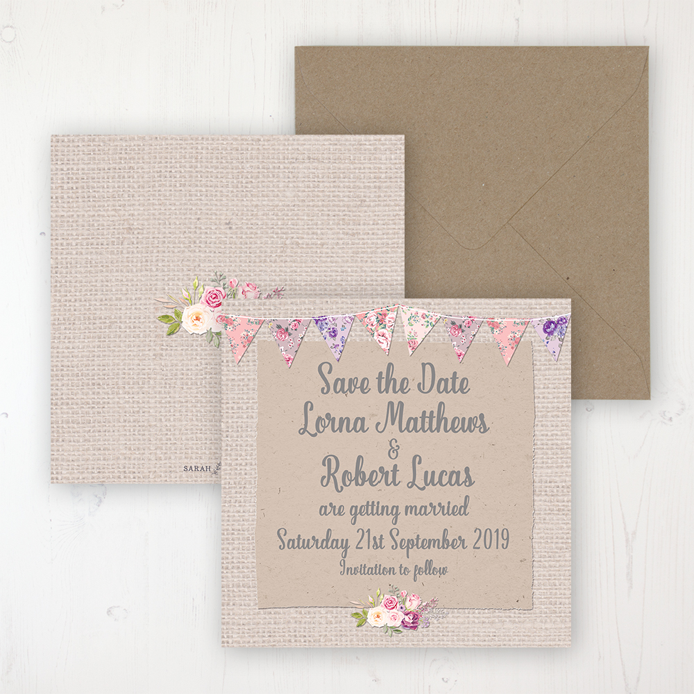 Floral Blooms Wedding Save the Date Personalised Front & Back with Rustic Envelope
