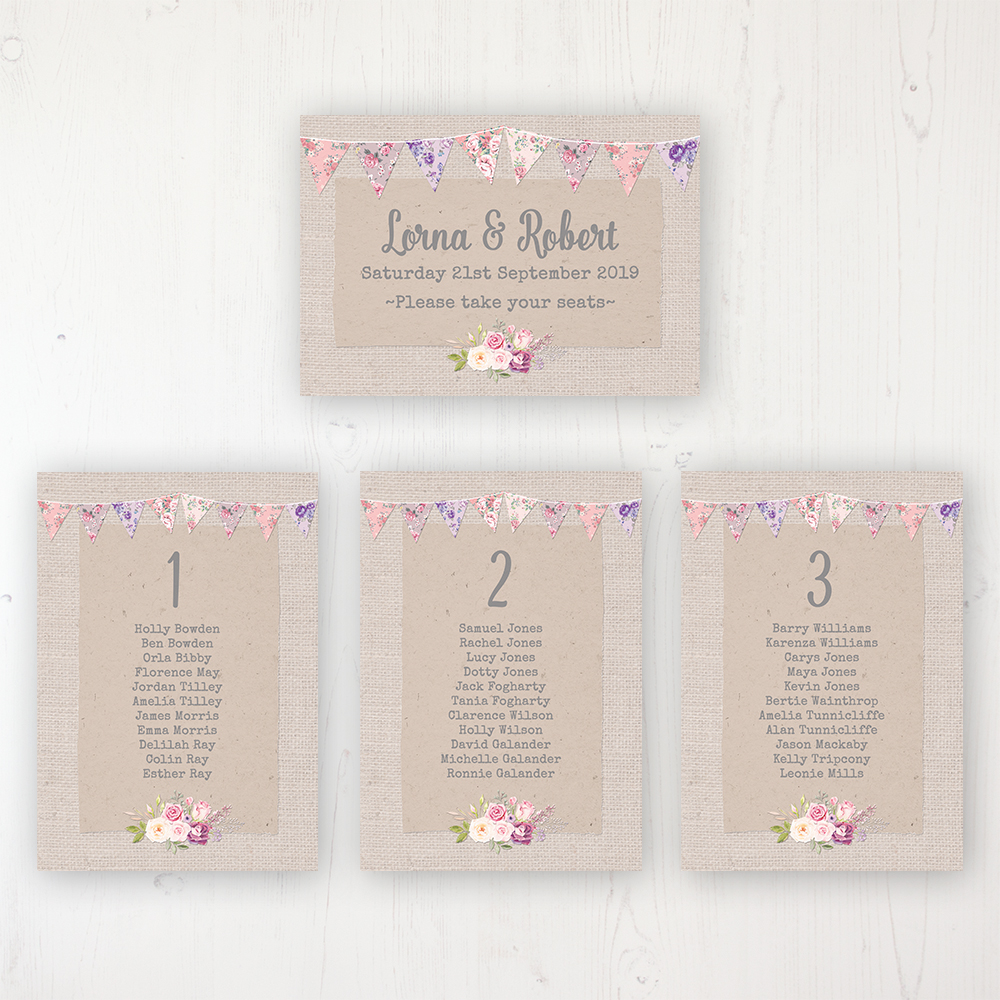 Floral Blooms Wedding Table Plan Cards Personalised with Table Names and Guest Names