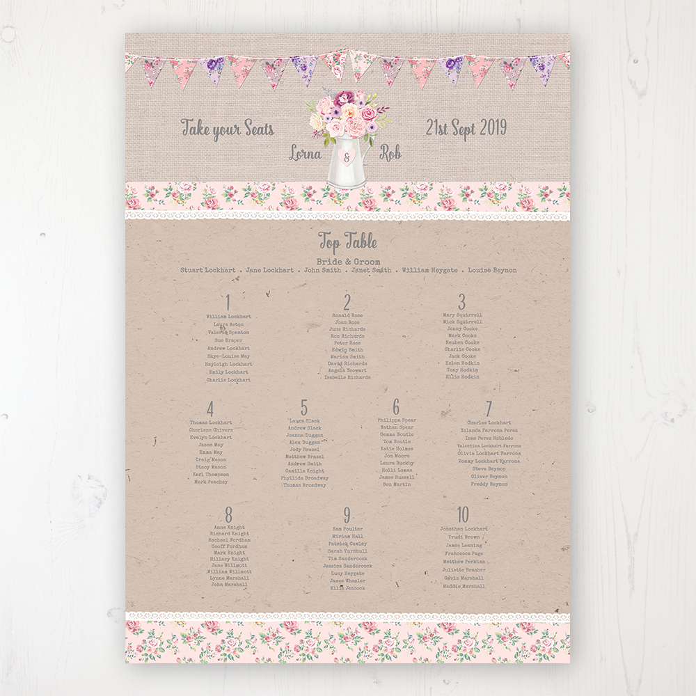 Floral Blooms Wedding Table Plan Poster Personalised with Table and Guest Names