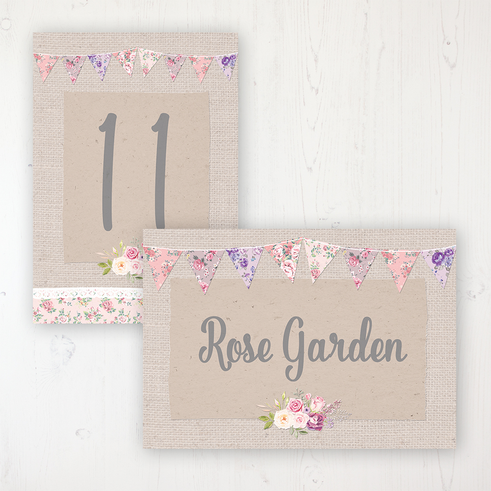 Floral Blooms Wedding Table Name & Number Personalised Table Name Card and Number Card
