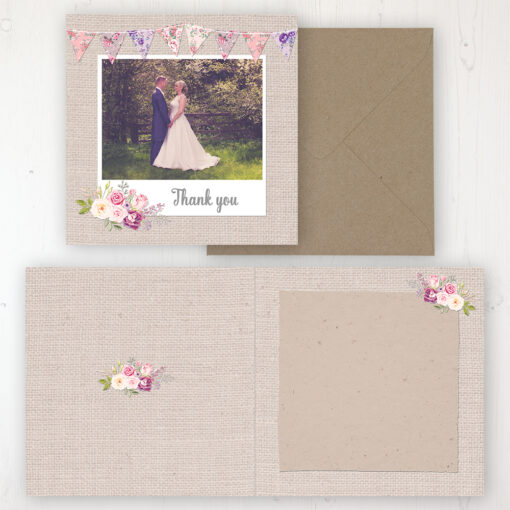 Floral Blooms Wedding Thank You Card - Folded Personalised with a Message & Photo