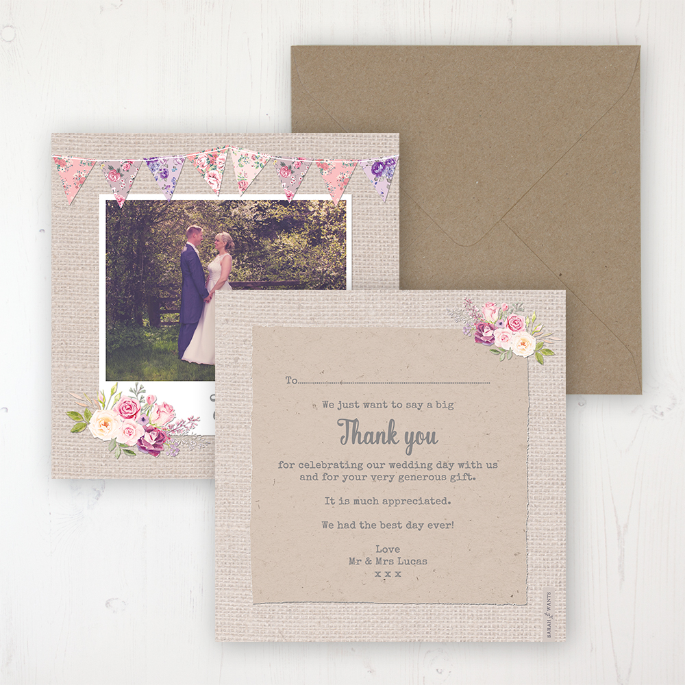 Floral Blooms Wedding Thank You Card - Flat Personalised with a Message & Photo