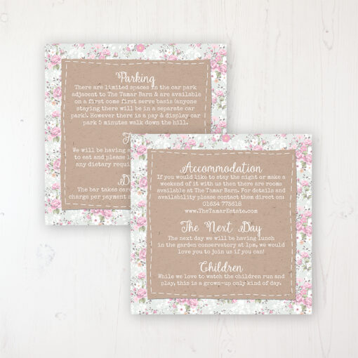 Floral Furrows Wedding Info Insert Card Personalised Front & Back