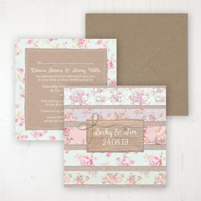 Floral Furrows Wedding Invitation - Flat Personalised Front & Back with Rustic Envelope