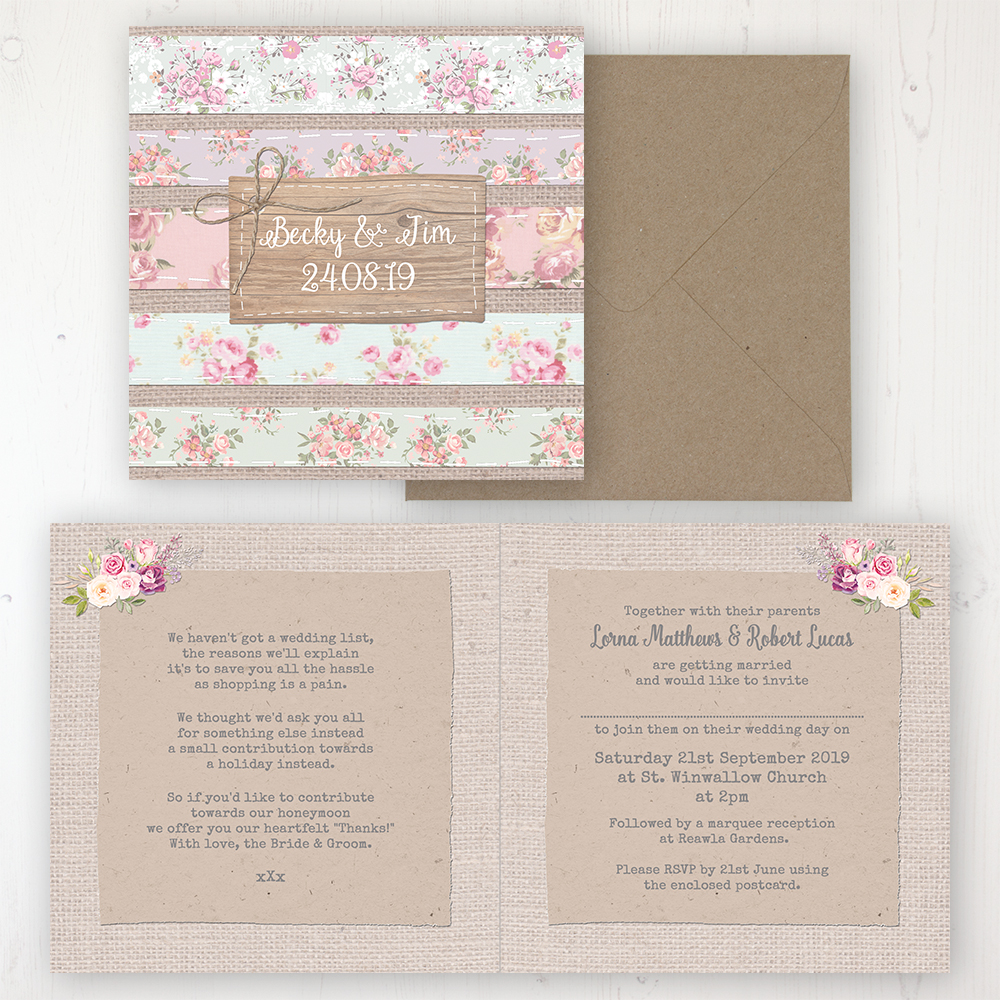 Floral Furrows Wedding Invitation - Folded Personalised Front & Back with Rustic Envelope