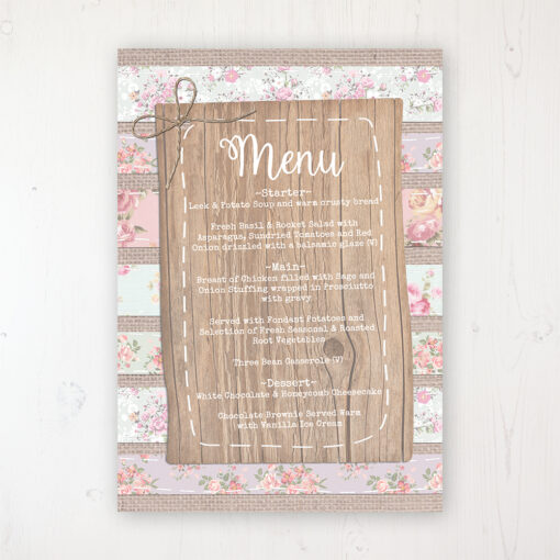 Floral Furrows Wedding Menu Card Personalised to display on tables