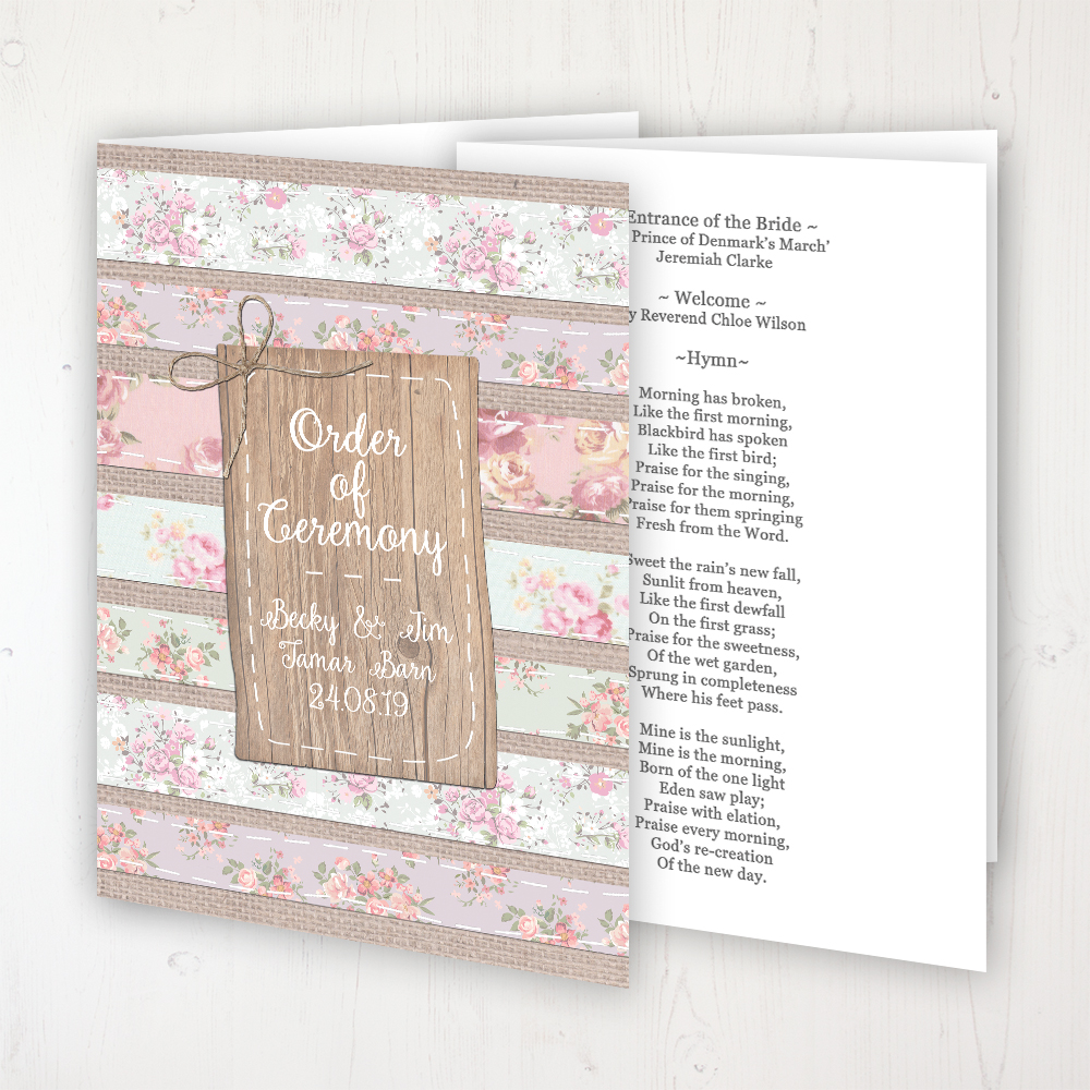 Floral Furrows Wedding Order of Service - Booklet Personalised Front & Inside Pages