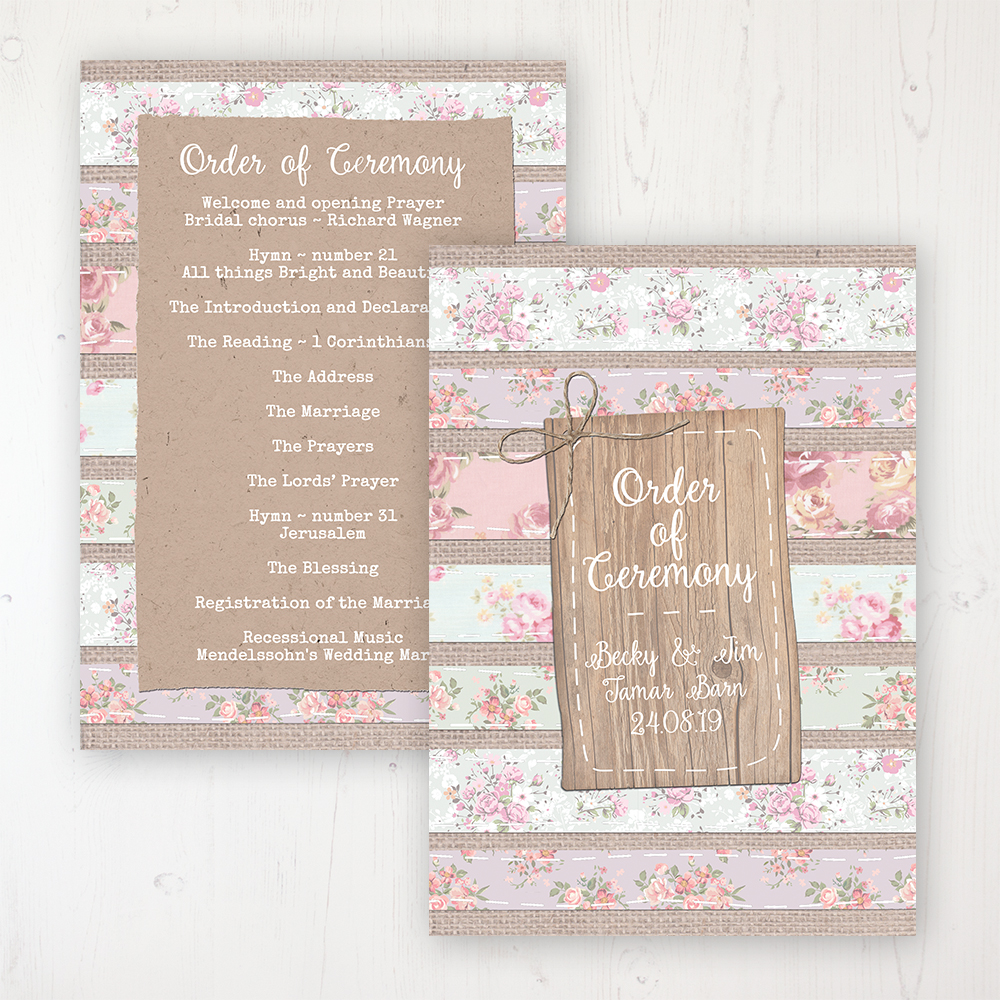 Floral Furrows Wedding Order of Service - Card Personalised front and back