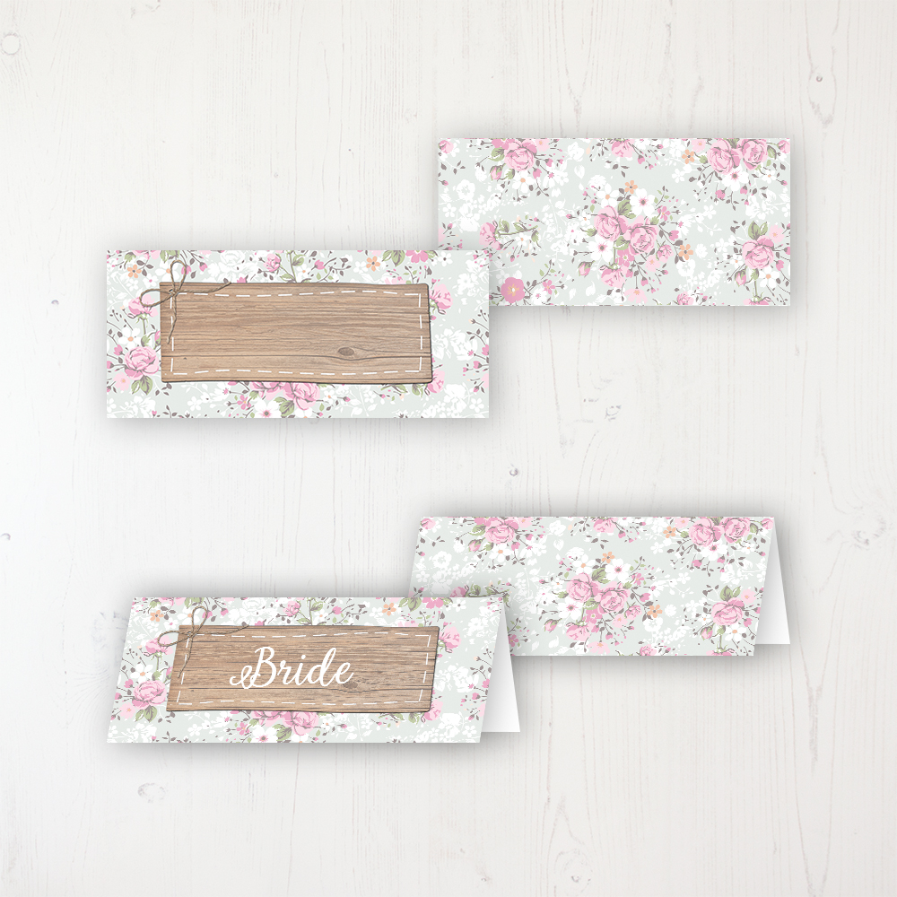 Floral Furrows Wedding Place Name Cards Blank and Personalised with Flat or Folded Option