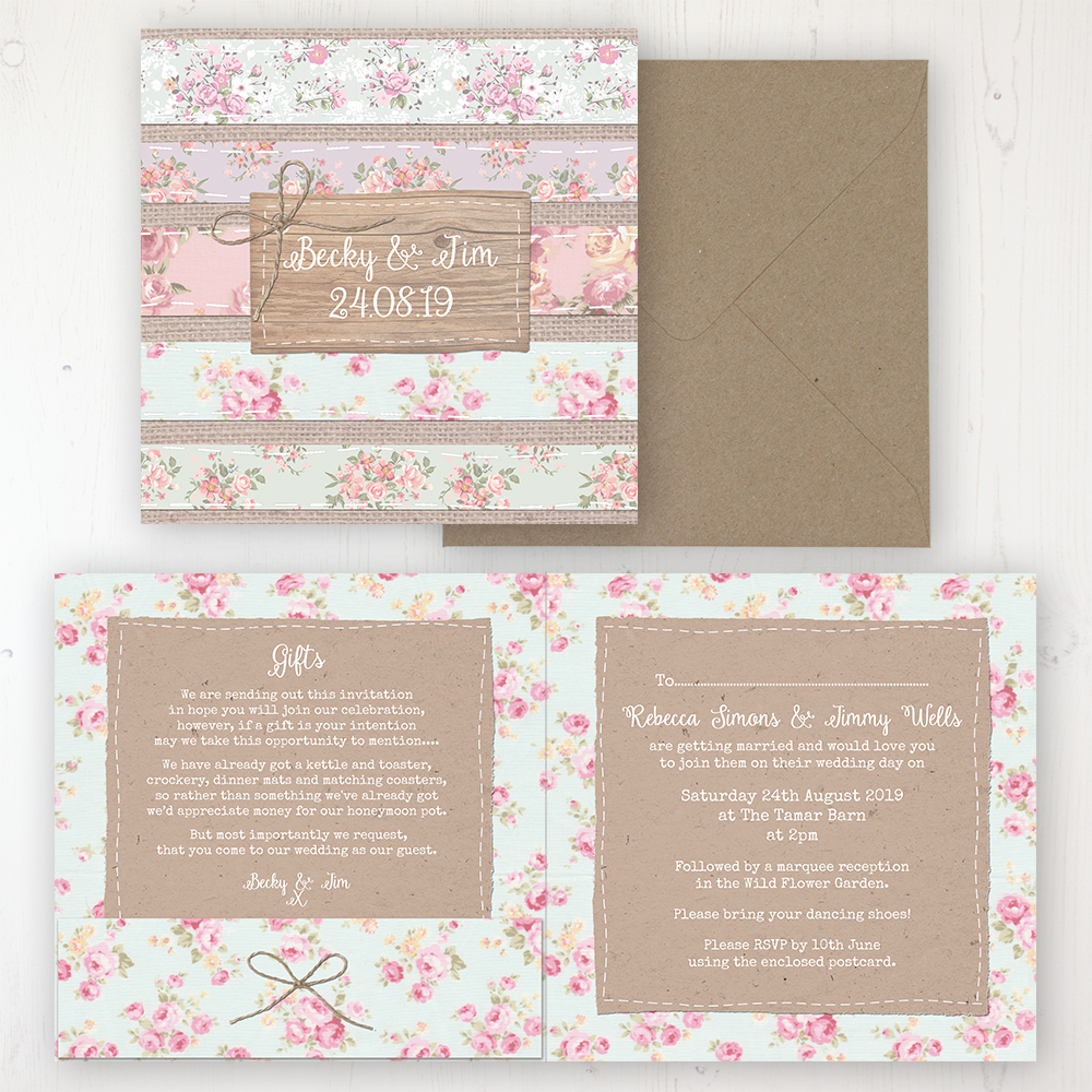 Floral Furrows Wedding Invitation - Folded Personalised Front & Back with Pocket in inside cover. Includes Rustic Envelope