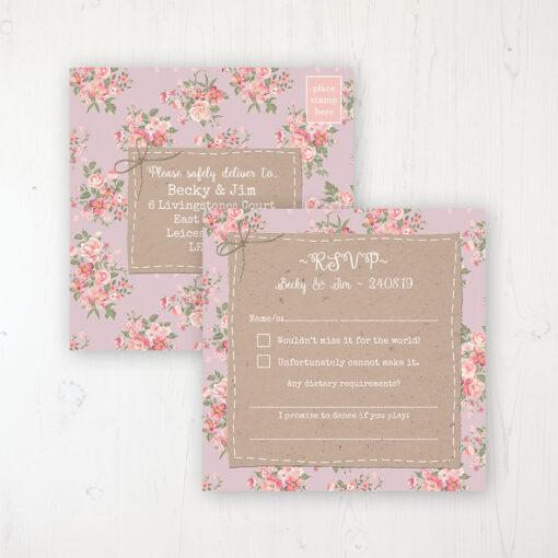 Floral Furrows Wedding RSVP Postcard Personalised Front & Back