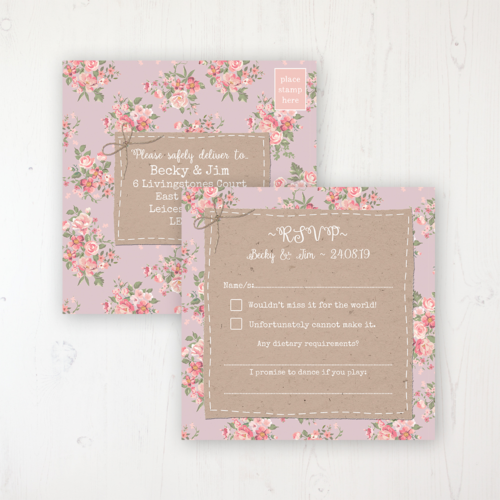 Floral Furrows Wedding RSVP Postcard Personalised Front & Back
