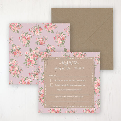 Floral Furrows Wedding RSVP Personalised Front & Back with Rustic Envelope