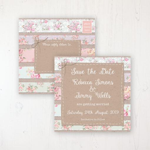 Floral Furrows Wedding Save the Date Postcard Personalised Front & Back