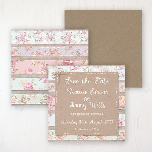 Floral Furrows Wedding Save the Date Personalised Front & Back with Rustic Envelope