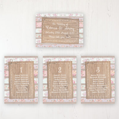 Floral Furrows Wedding Table Plan Cards Personalised with Table Names and Guest Names