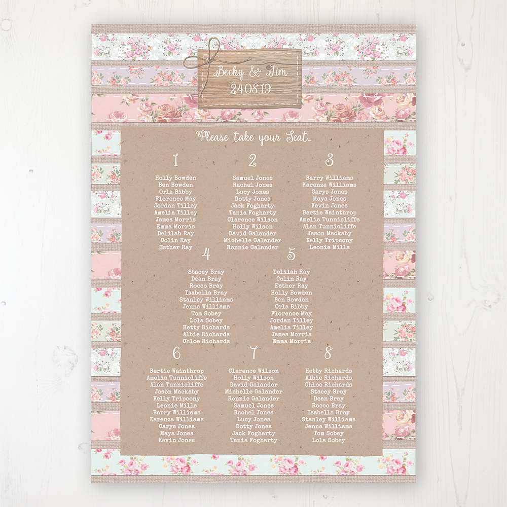 Floral Furrows Wedding Table Plan Poster Personalised with Table and Guest Names