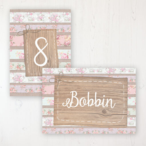 Floral Furrows Wedding Table Name & Number Personalised Table Name Card and Number Card