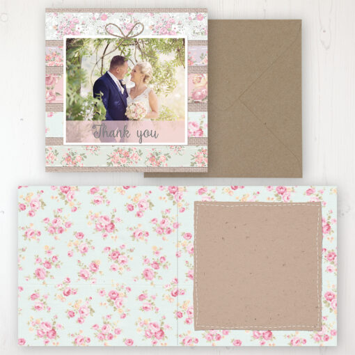 Floral Furrows Wedding Thank You Card - Folded Personalised with a Message & Photo