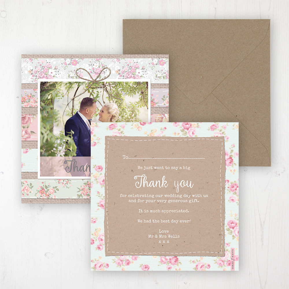Floral Furrows Wedding Thank You Card - Flat Personalised with a Message & Photo