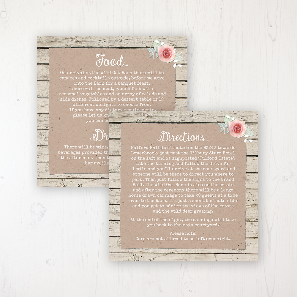 Flower Crown Wedding Info Insert Card Personalised Front & Back