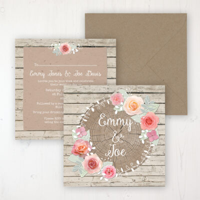 Flower Crown Wedding Invitation - Flat Personalised Front & Back with Rustic Envelope