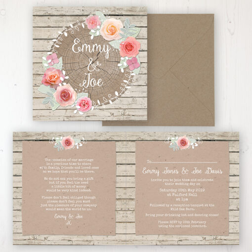 Flower Crown Wedding Invitation - Folded Personalised Front & Back with Rustic Envelope