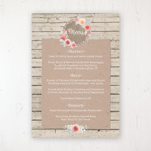 Flower Crown Wedding Menu Card Personalised to display on tables