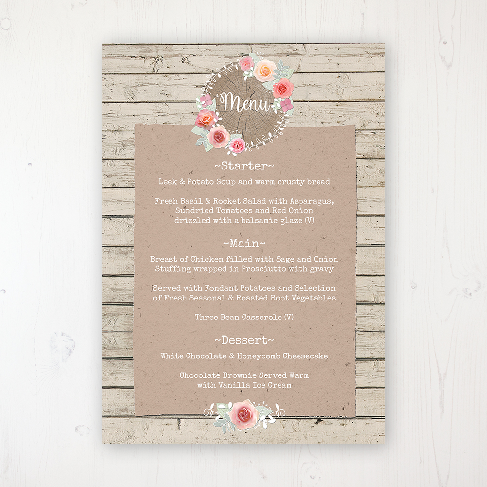 Flower Crown Wedding Menu Card Personalised to display on tables