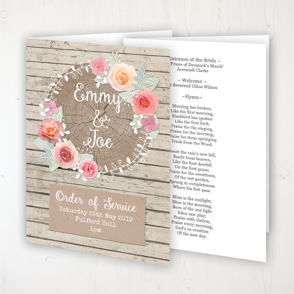 Flower Crown Wedding Order of Service - Booklet Personalised Front & Inside Pages