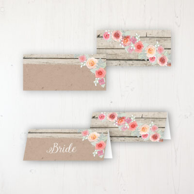 Flower Crown Wedding Place Name Cards Blank and Personalised with Flat or Folded Option