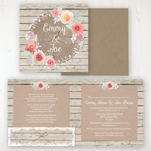 Flower Crown Wedding Invitation - Folded Personalised Front & Back with Pocket in inside cover. Includes Rustic Envelope