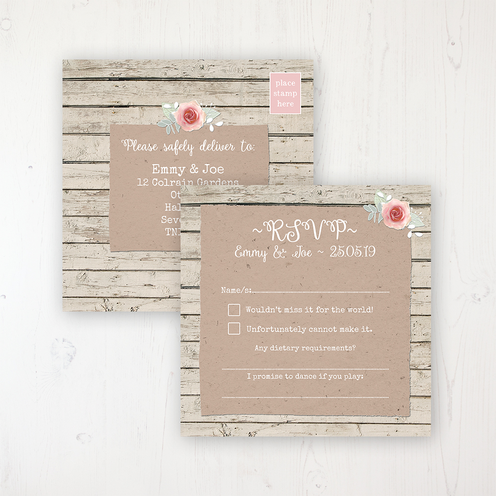Flower Crown Wedding RSVP Postcard Personalised Front & Back