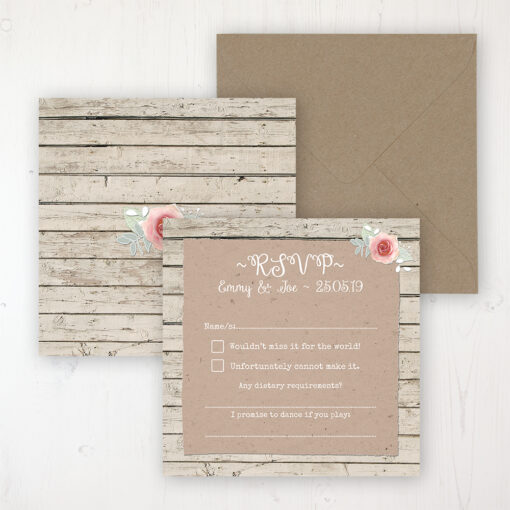 Flower Crown Wedding RSVP Personalised Front & Back with Rustic Envelope