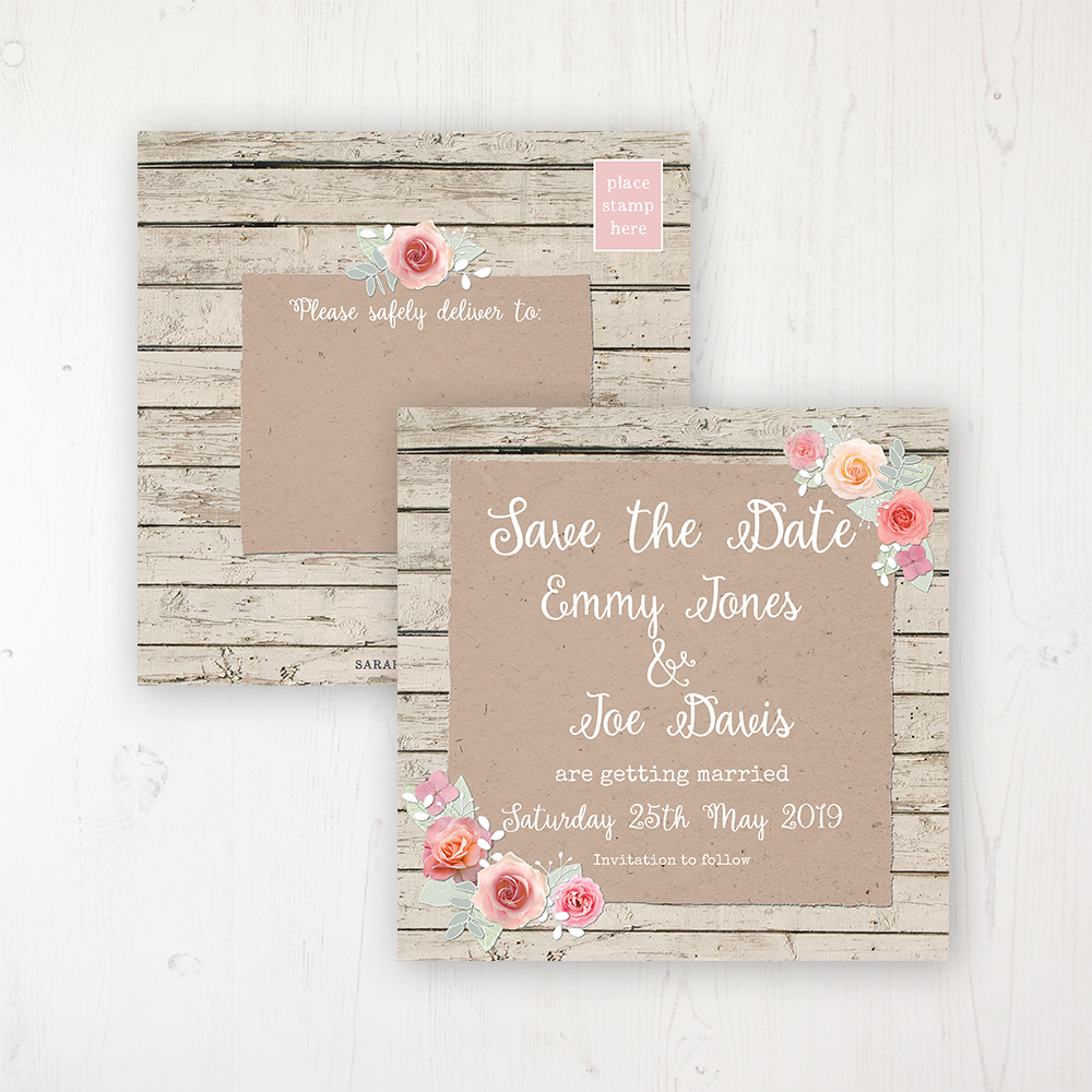Flower Crown Wedding Save the Date Postcard Personalised Front & Back