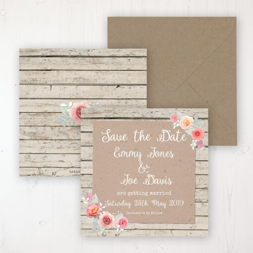 Flower Crown Wedding Save the Date Personalised Front & Back with Rustic Envelope