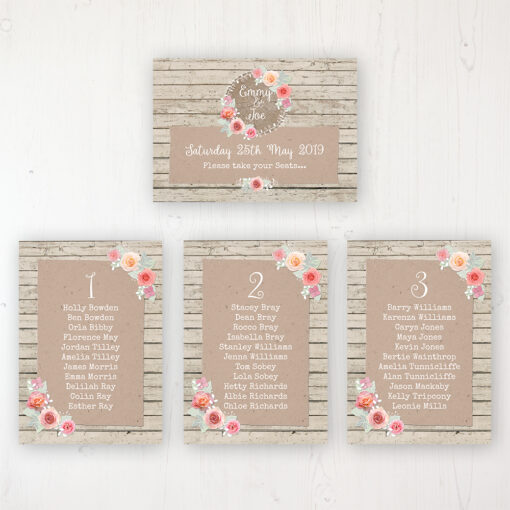 Flower Crown Wedding Table Plan Cards Personalised with Table Names and Guest Names