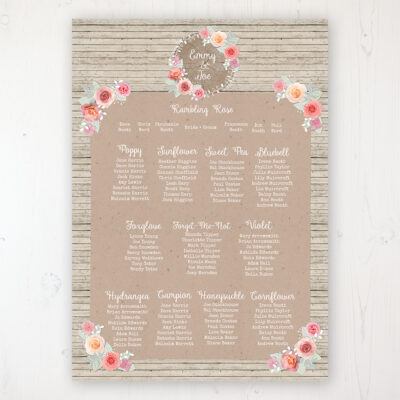 Flower Crown Wedding Table Plan Poster Personalised with Table and Guest Names