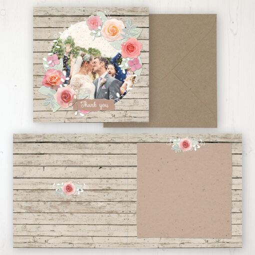 Flower Crown Wedding Thank You Card - Folded Personalised with a Message & Photo
