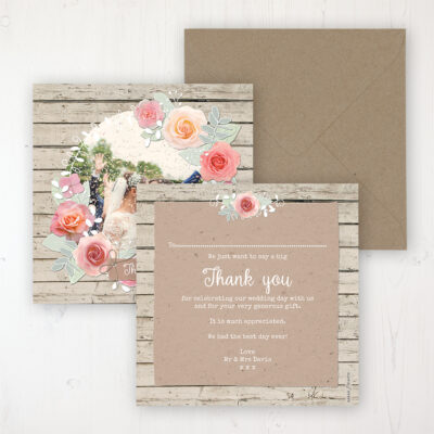 Flower Crown Wedding Thank You Card - Flat Personalised with a Message & Photo