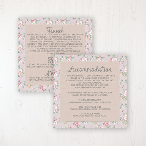 Going to the Chapel Wedding Info Insert Card Personalised Front & Back