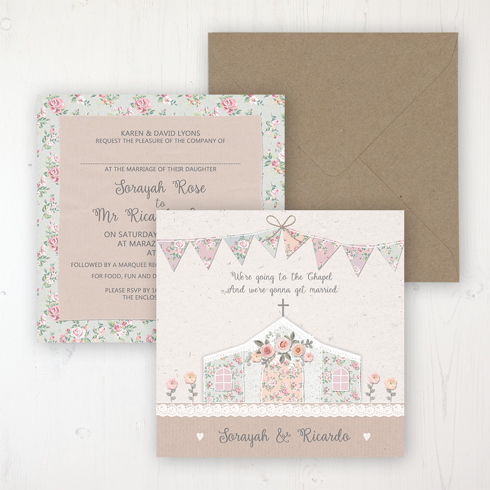 Going to the Chapel Wedding Invitation - Flat Personalised Front & Back with Rustic Envelope