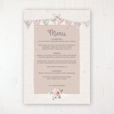 Going to the Chapel Wedding Menu Card Personalised to display on tables