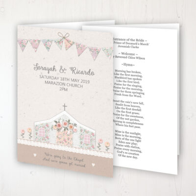Going to the Chapel Wedding Order of Service - Booklet Personalised Front & Inside Pages