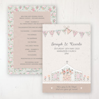 Going to the Chapel Wedding Order of Service - Card Personalised front and back