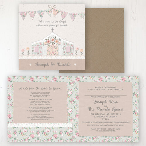 Going to the Chapel Wedding Invitation - Folded Personalised Front & Back with Pocket in inside cover. Includes Rustic Envelope